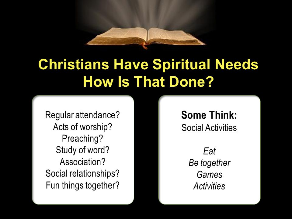 Christians Have Spiritual Needs How Is That Done? Regular attendance? Acts of worship? Preaching? Study of word? Association? Social relationships? Fu