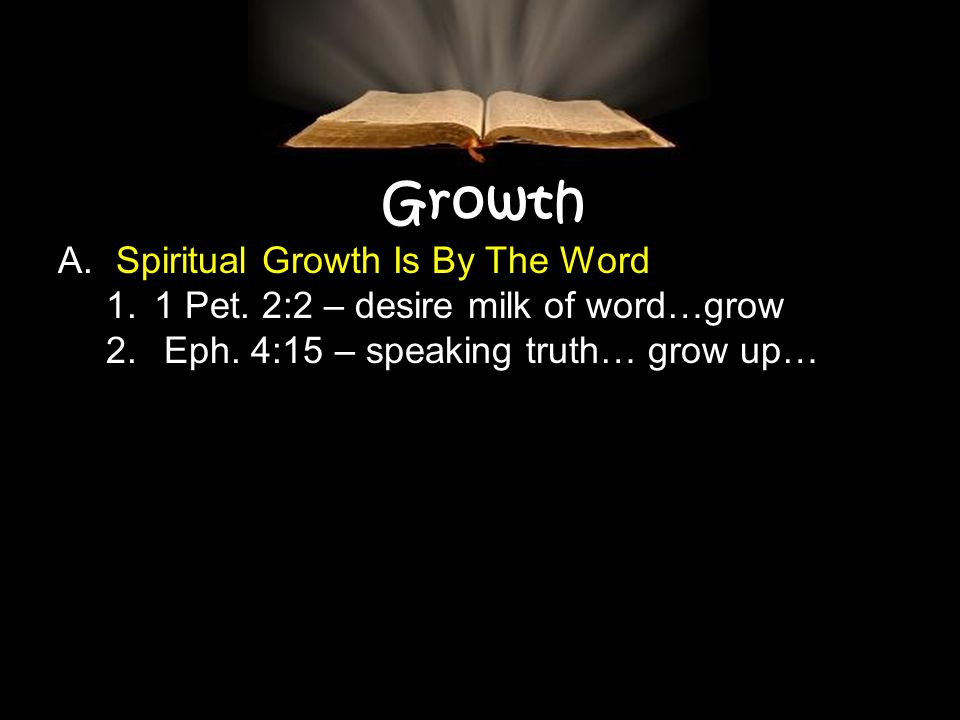 Growth A. Spiritual Growth Is By The Word 1.1 Pet.