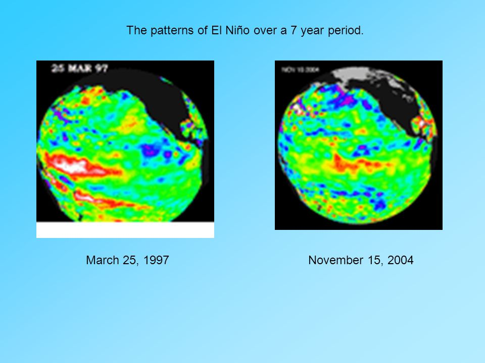 March 25, 1997November 15, 2004 The patterns of El Niño over a 7 year period.