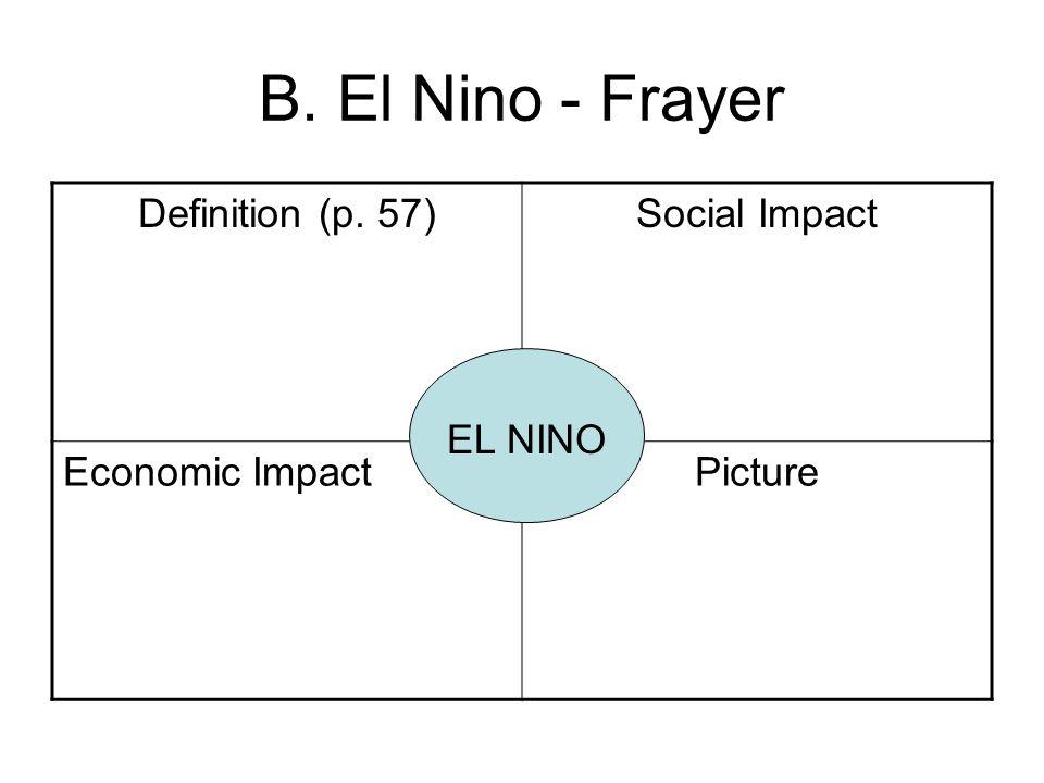 B. El Nino - Frayer Definition (p. 57)Social Impact Economic ImpactPicture EL NINO