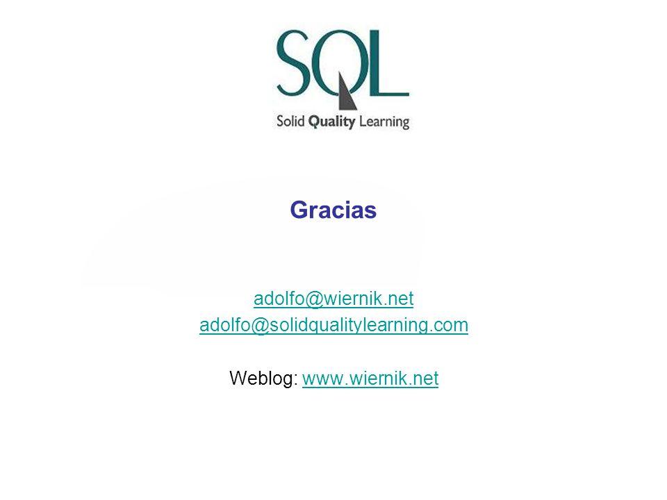 Gracias adolfo@wiernik.net adolfo@solidqualitylearning.com Weblog: www.wiernik.netwww.wiernik.net