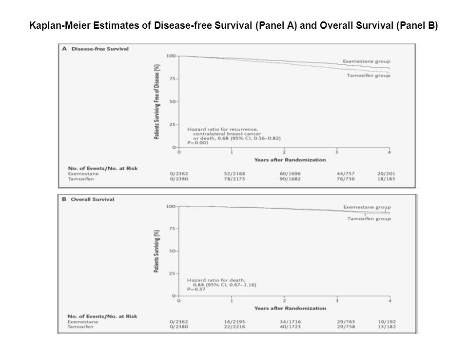 Kaplan-Meier Estimates of Disease-free Survival (Panel A) and Overall Survival (Panel B) Coombes, R.
