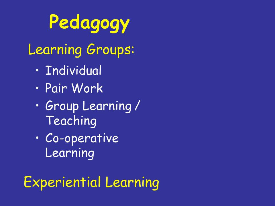 Pedagogy Individual Pair Work Group Learning / Teaching Co-operative Learning Learning Groups: Experiential Learning