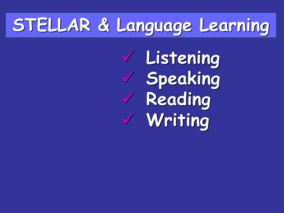 Listening Listening Speaking Speaking Reading Reading Writing Writing STELLAR & Language Learning
