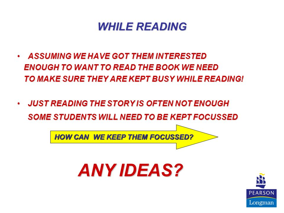 UPSIDE DOWN COMPREHENSION QUESTIONS INSTEAD OF THE TRADITIONAL WAY OF HAVING STUDENTS READ AND THEN ANSWER COMPREHENSION QUESTIONS – HAVE THEM WRITE THEIR OWN COMPREHENSION QUESTIONS BEFORE READING – CAN BE DONE IN GROUPS OR INDIVIDUALLY THIS EXERCISE WILL ENCOURAGE THEM TO THINK ABOUT WHAT THEY WANT TO LEARN FROM THE CHAPTER AS WELL AS THEN GIVING THEM A REASON TO READ THEY CAN EVEN ANSWER THEM (OR ANOTHER GROUPS) BEFORE READING – SEE HOW GOOD THEY ARE AT PREDICTING ITS MORE FUN TO ANSWER YOUR OWN QUESTIONS THAN THOSE GIVEN BY SOMEONE ELSE