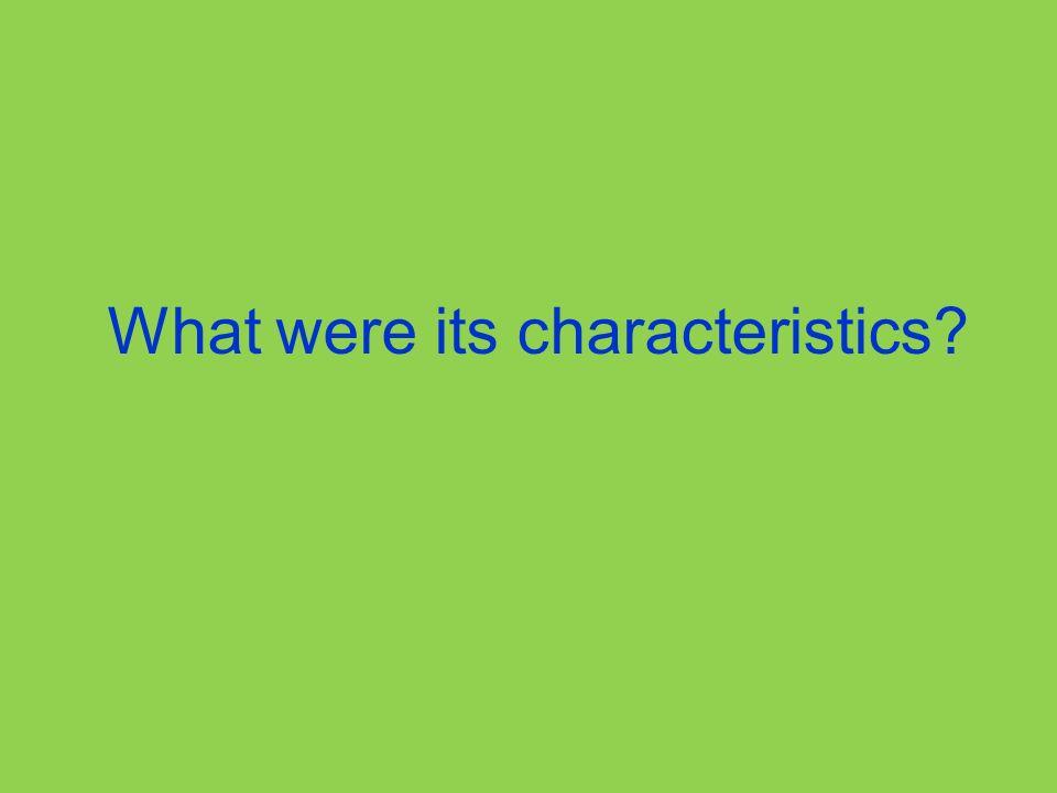 What were its characteristics