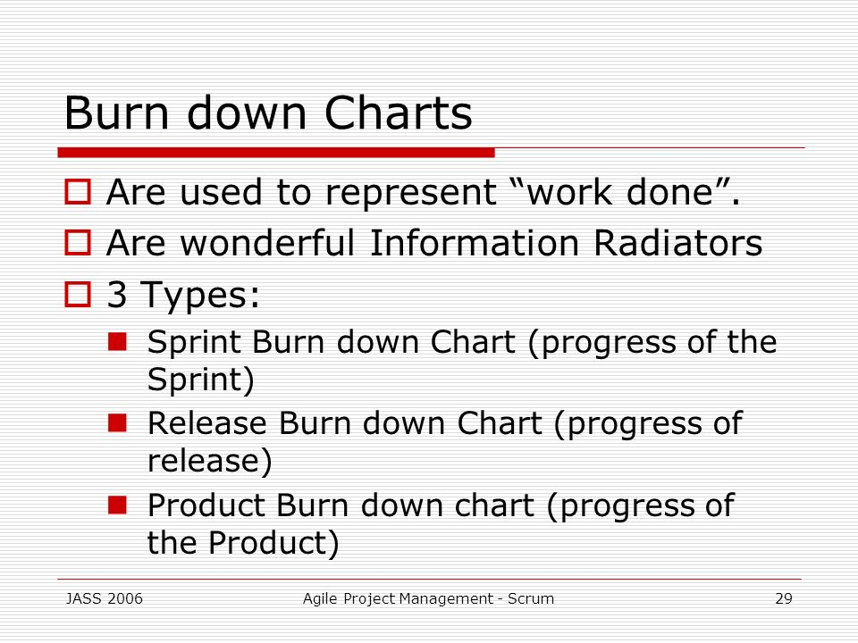 JASS 2006Agile Project Management - Scrum29 Burn down Charts Are used to represent work done. Are wonderful Information Radiators 3 Types: Sprint Burn