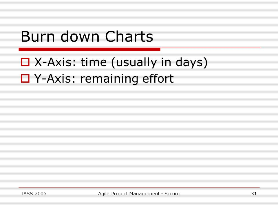 JASS 2006Agile Project Management - Scrum31 Burn down Charts X-Axis: time (usually in days) Y-Axis: remaining effort