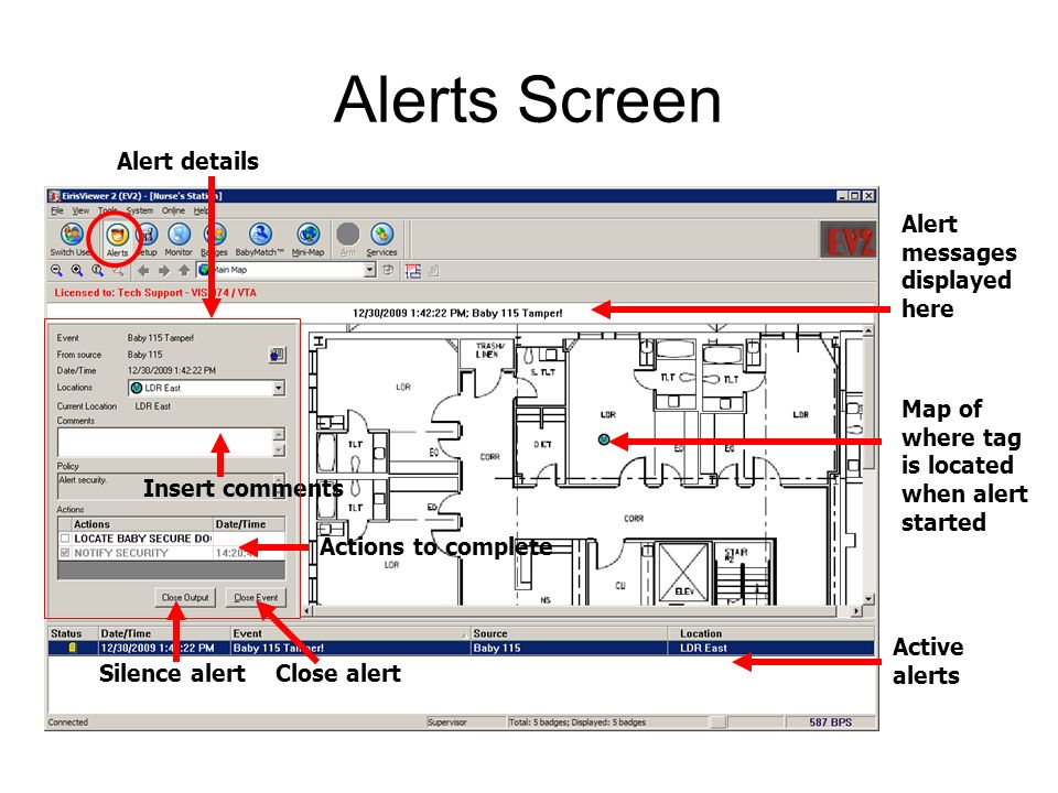 Alerts Screen Alert messages displayed here Active alerts Map of where tag is located when alert started Close alertSilence alert Insert comments Alert details Actions to complete