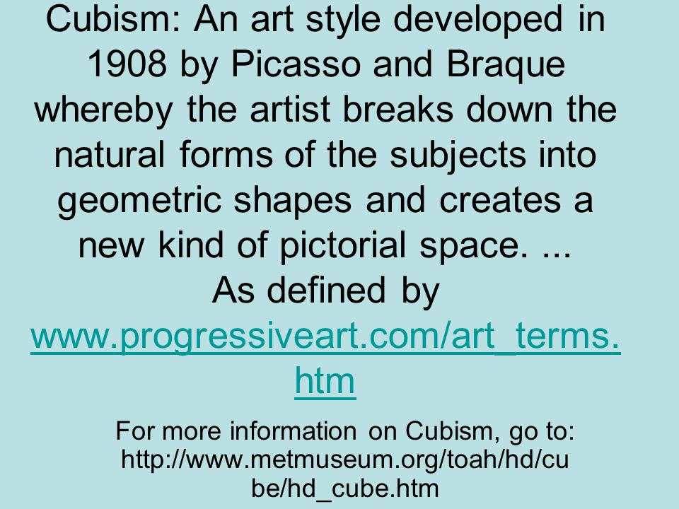 The assignment: Students had to illustrate one of their vocabulary words using Cubism.