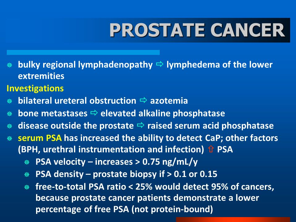 PROSTATE CANCER bulky regional lymphadenopathy lymphedema of the lower extremities Investigations bilateral ureteral obstruction azotemia bone metasta