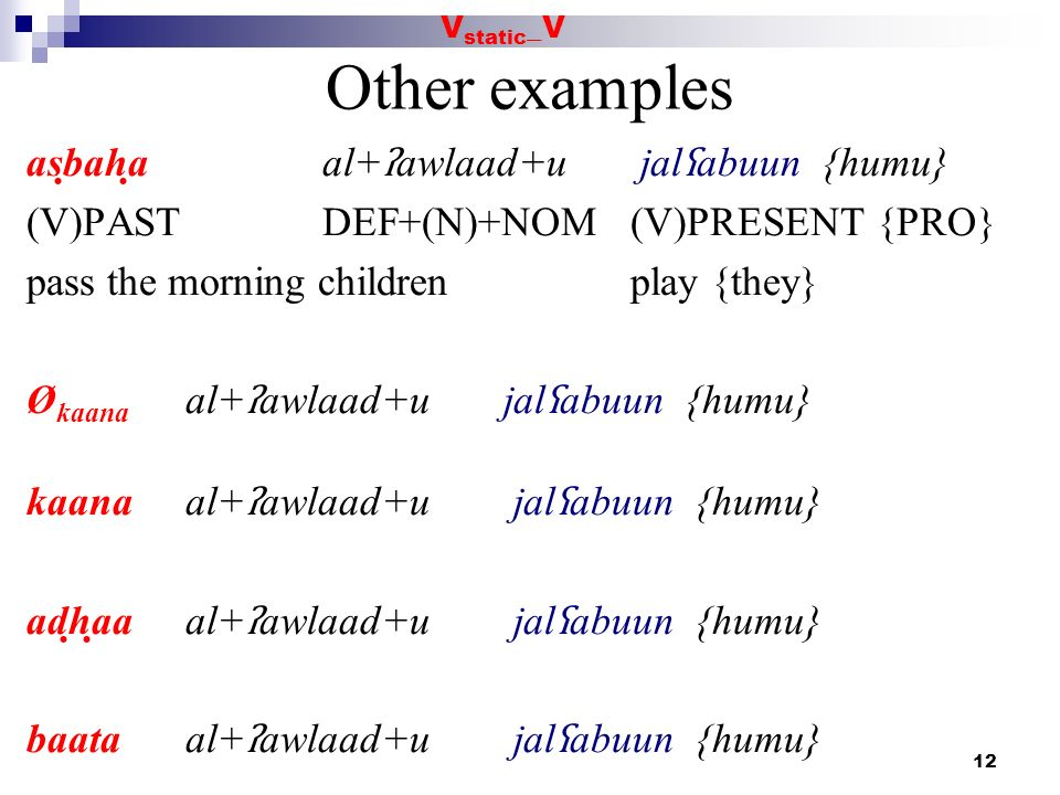 12 Other examples asbaha al+ ʔ awlaad+u jal ʕ abuun {humu} (V)PAST DEF+(N)+NOM (V)PRESENT {PRO} pass the morning children play {they} Ø kaana al+ ʔ aw