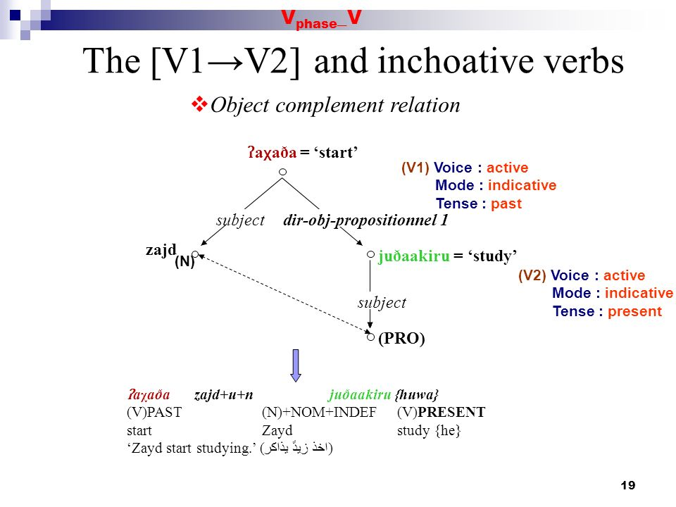 19 The [V1V2] and inchoative verbs Object complement relation ʔ a χ aða = start (V1) Voice : active Mode : indicative Tense : past subject zajd dir-ob