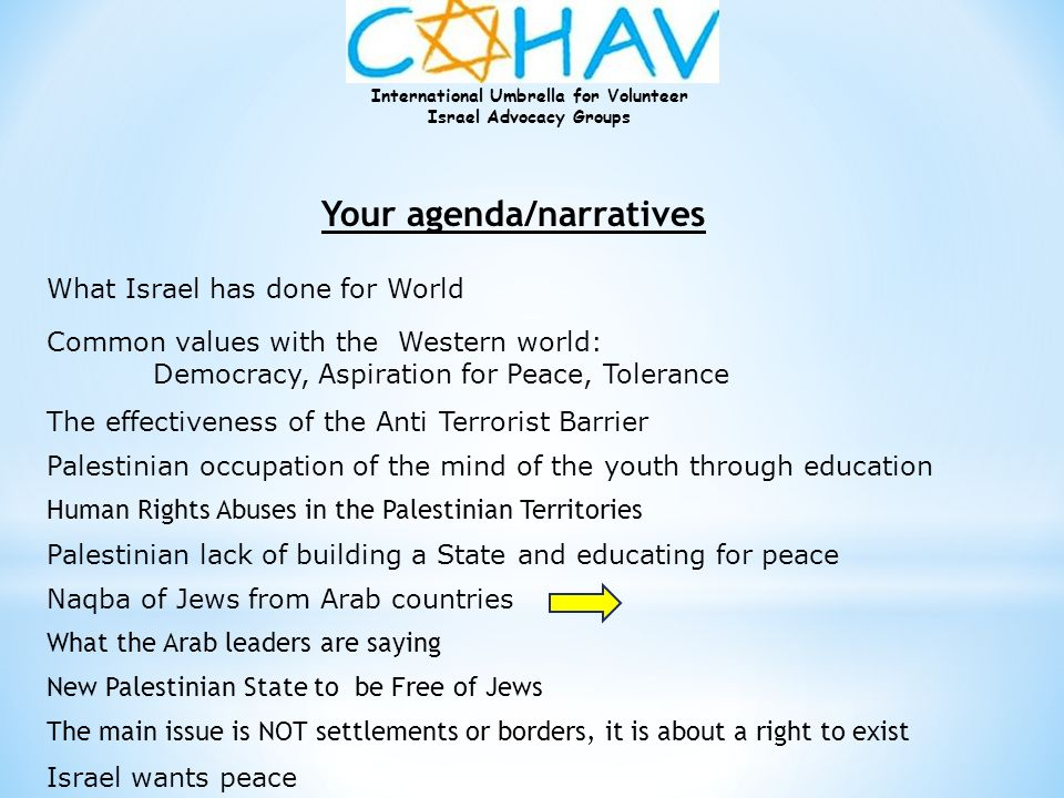 International Umbrella for Volunteer Israel Advocacy Groups Your agenda/narratives The effectiveness of the Anti Terrorist Barrier Palestinian occupat