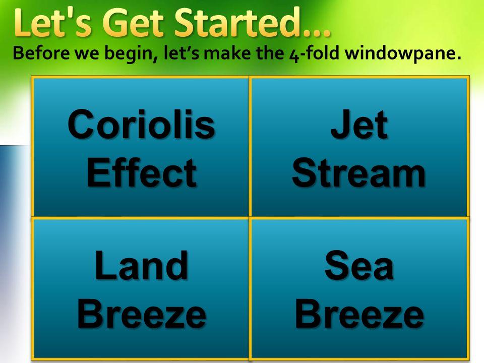 Before we begin, lets make the 4-fold windowpane. Coriolis Effect Land Breeze Jet Stream Sea Breeze