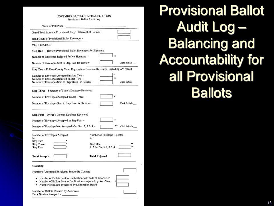 13 Provisional Ballot Audit Log – Balancing and Accountability for all Provisional Ballots
