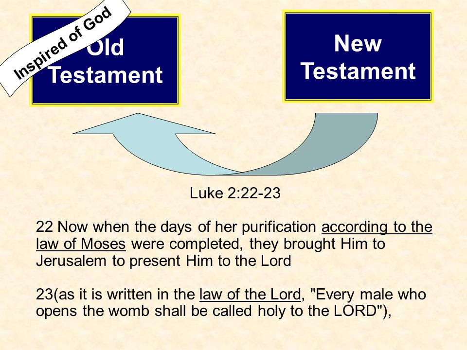 Luke 2:22-23 22 Now when the days of her purification according to the law of Moses were completed, they brought Him to Jerusalem to present Him to th