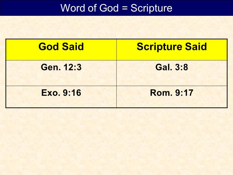 God SaidScripture Said Gen. 12:3Gal. 3:8 Exo. 9:16Rom. 9:17 Word of God = Scripture