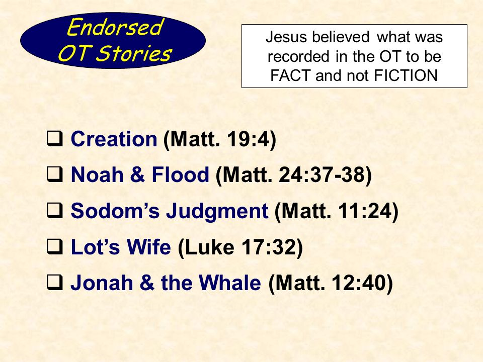 Endorsed OT Stories Jesus believed what was recorded in the OT to be FACT and not FICTION Creation (Matt.