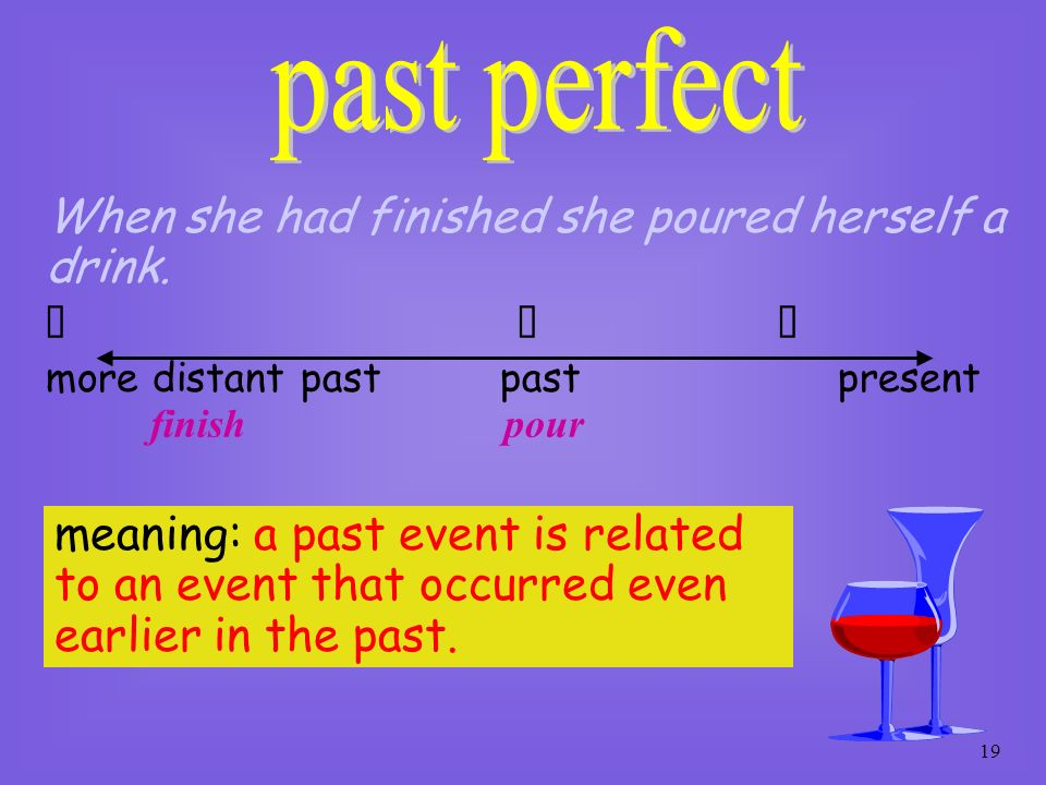 18 formed by: had + V-ed (past participle) e.g. By 8.45 everyone had arrived so the class began. distant past past arrive begin present