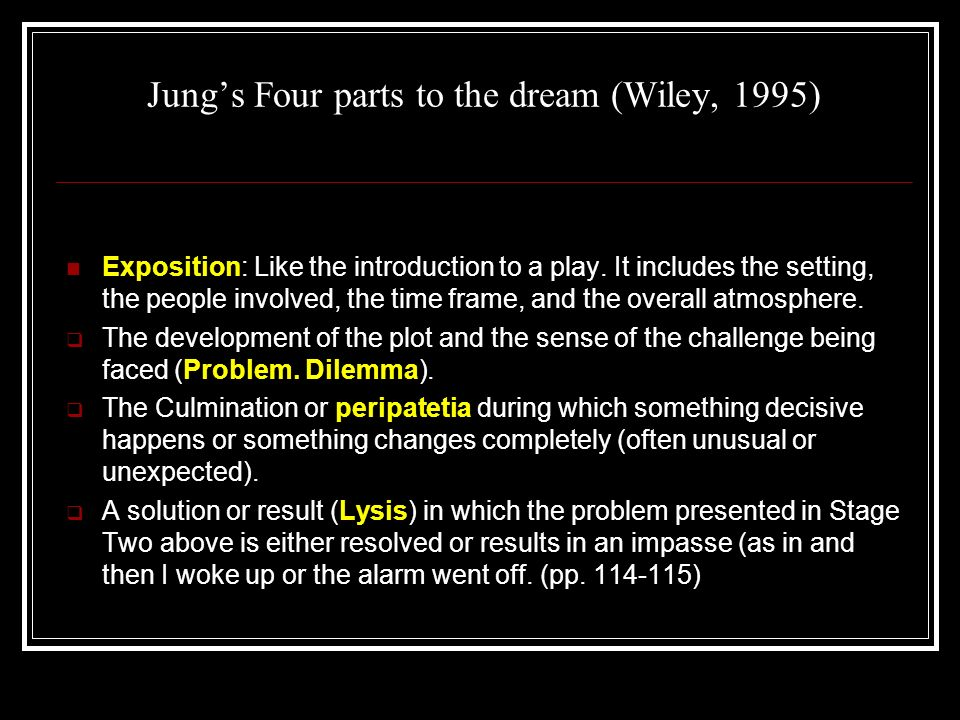 Jungs Four parts to the dream (Wiley, 1995) Exposition: Like the introduction to a play.