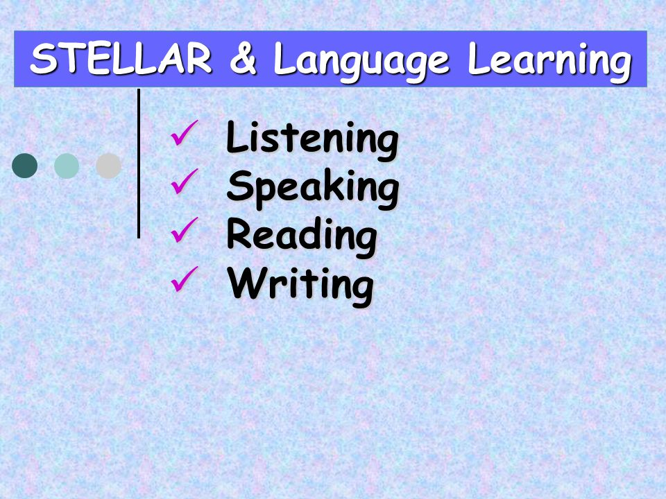 Listening Listening Speaking Speaking Reading Reading Writing Writing STELLAR & Language Learning