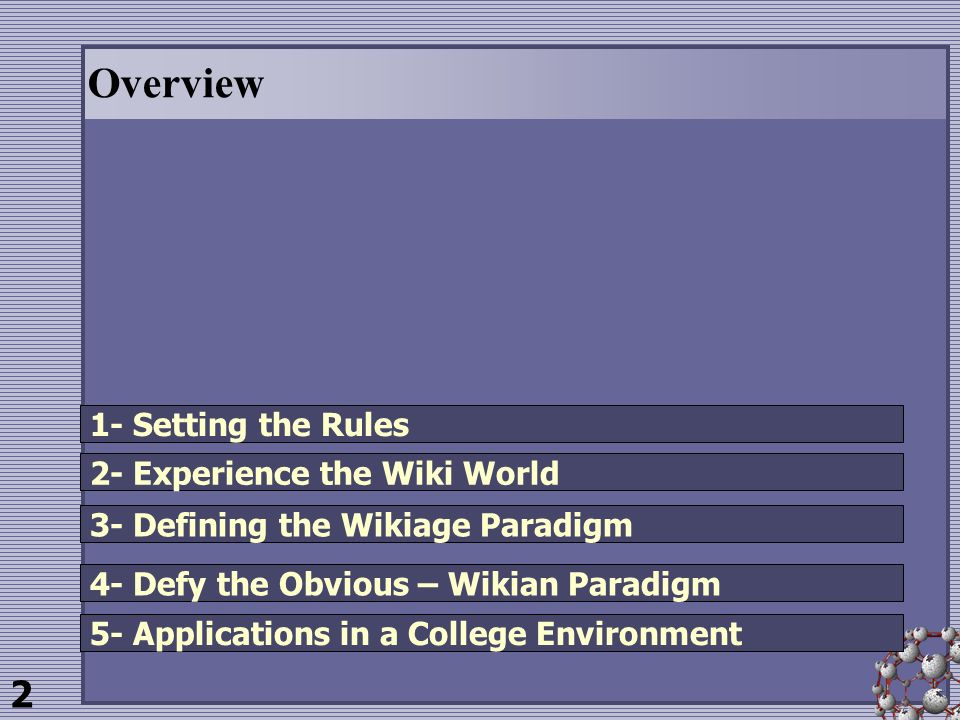2 Overview 1- Setting the Rules 2- Experience the Wiki World 3- Defining the Wikiage Paradigm 4- Defy the Obvious – Wikian Paradigm 5- Applications in a College Environment