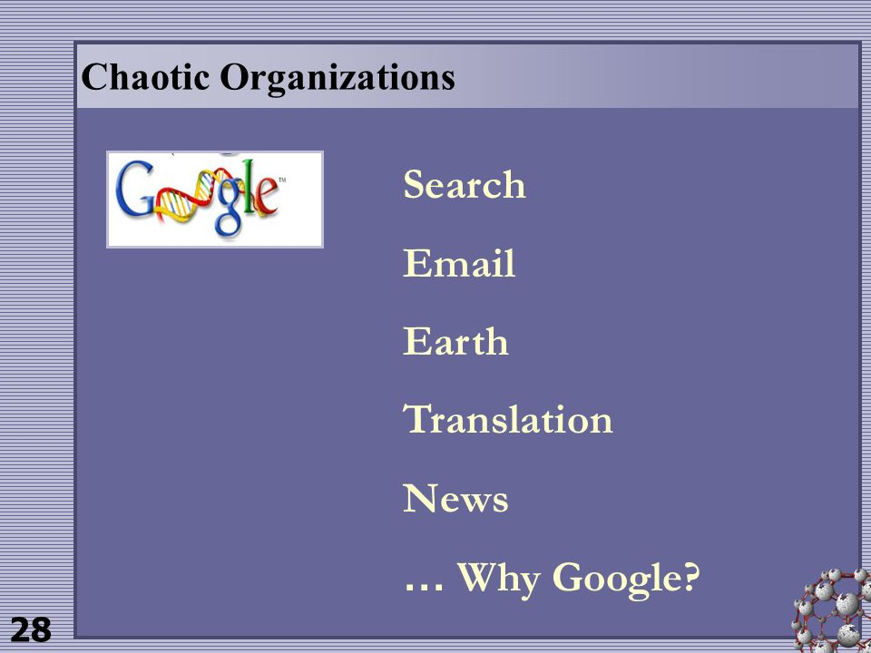 28 Chaotic Organizations Search Email Earth Translation News … Why Google?