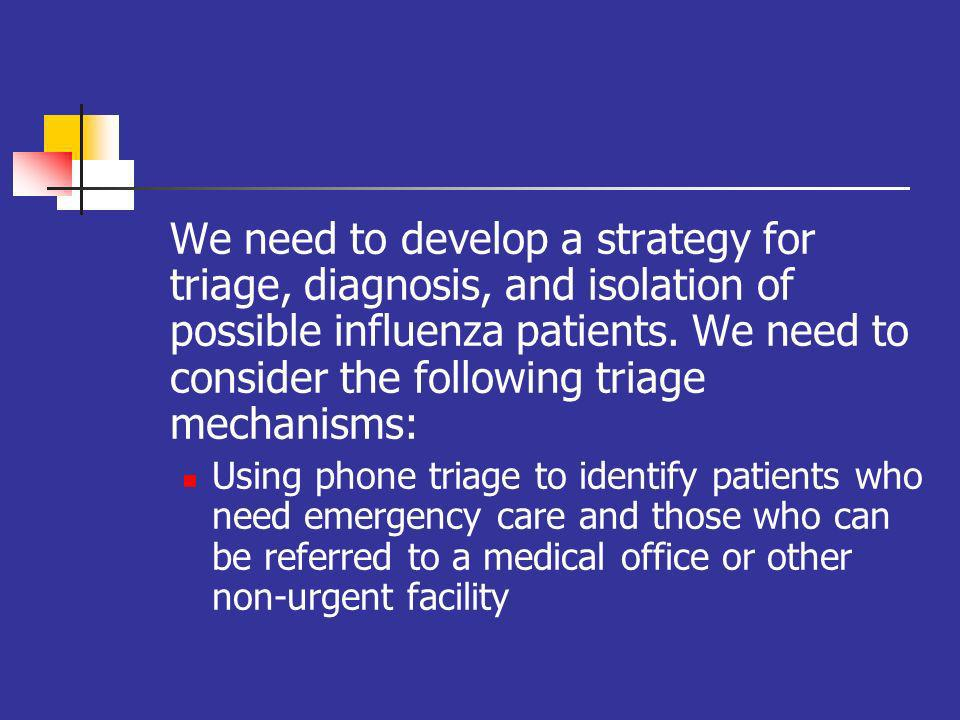 We need to develop a strategy for triage, diagnosis, and isolation of possible influenza patients.