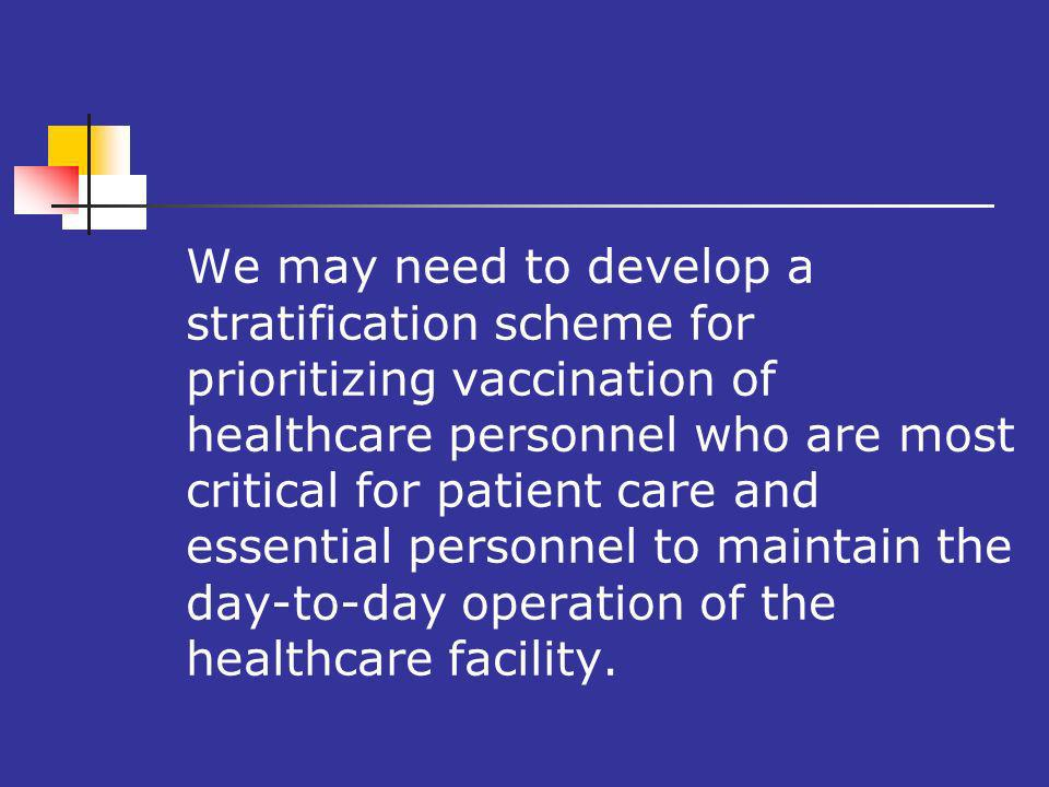 We may need to develop a stratification scheme for prioritizing vaccination of healthcare personnel who are most critical for patient care and essential personnel to maintain the day-to-day operation of the healthcare facility.