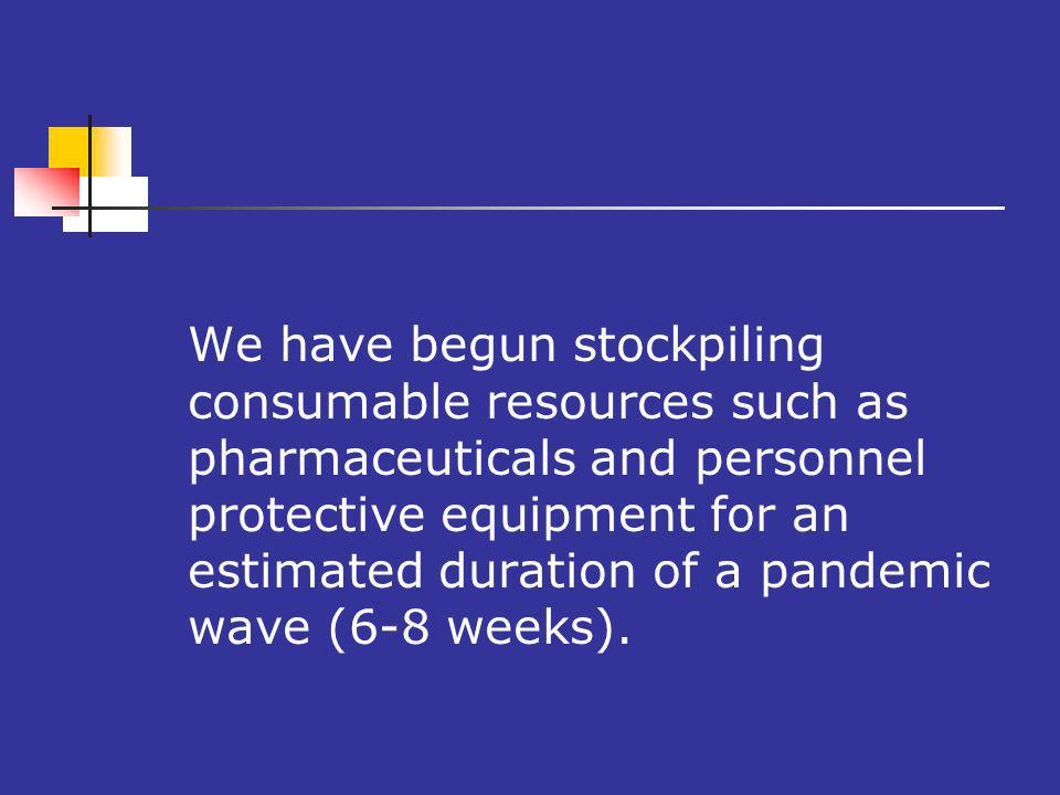 We have begun stockpiling consumable resources such as pharmaceuticals and personnel protective equipment for an estimated duration of a pandemic wave (6-8 weeks).