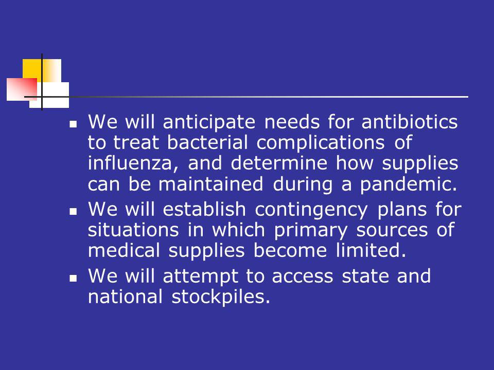 We will anticipate needs for antibiotics to treat bacterial complications of influenza, and determine how supplies can be maintained during a pandemic.