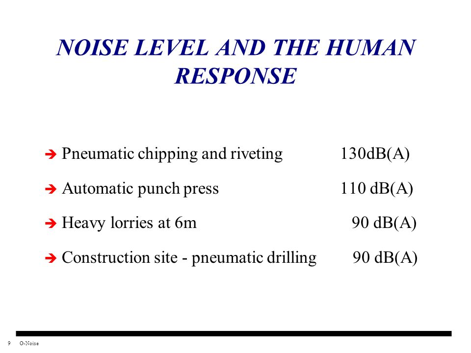 9O-Noise NOISE LEVEL AND THE HUMAN RESPONSE Pneumatic chipping and riveting 130dB(A) Automatic punch press 110 dB(A) Heavy lorries at 6m 90 dB(A) Cons