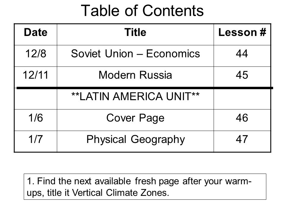 Table of Contents DateTitleLesson # 12/8Soviet Union – Economics44 12/11Modern Russia45 **LATIN AMERICA UNIT** 1/6Cover Page46 1/7Physical Geography47