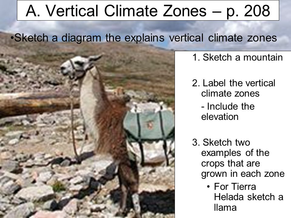 A. Vertical Climate Zones – p. 208 1. Sketch a mountain 2. Label the vertical climate zones - Include the elevation 3. Sketch two examples of the crop