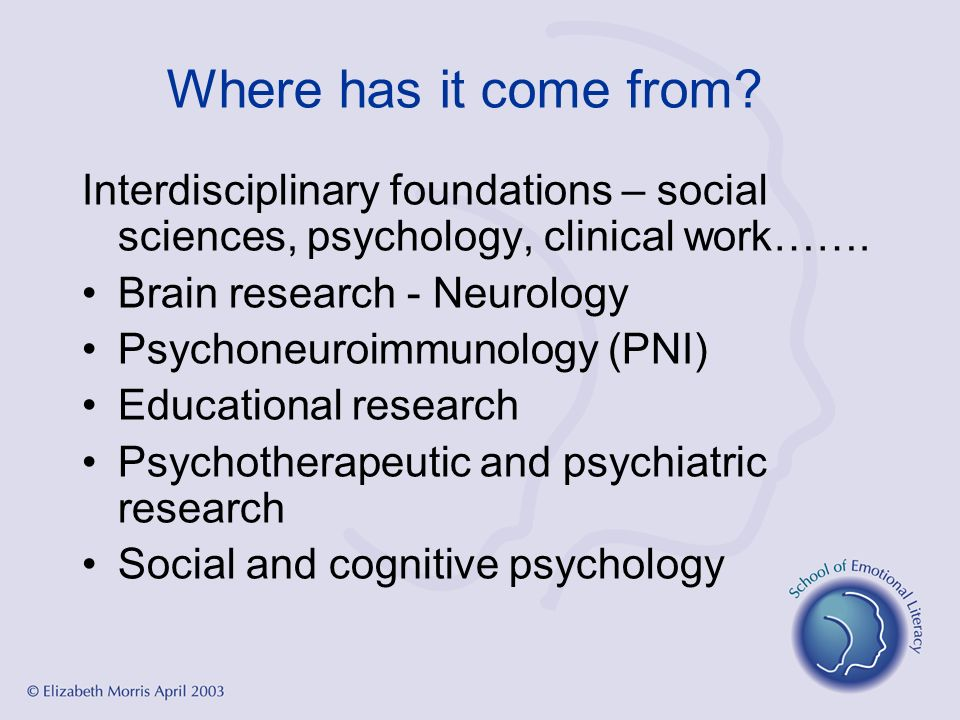 Where has it come from? Interdisciplinary foundations – social sciences, psychology, clinical work……. Brain research - Neurology Psychoneuroimmunology