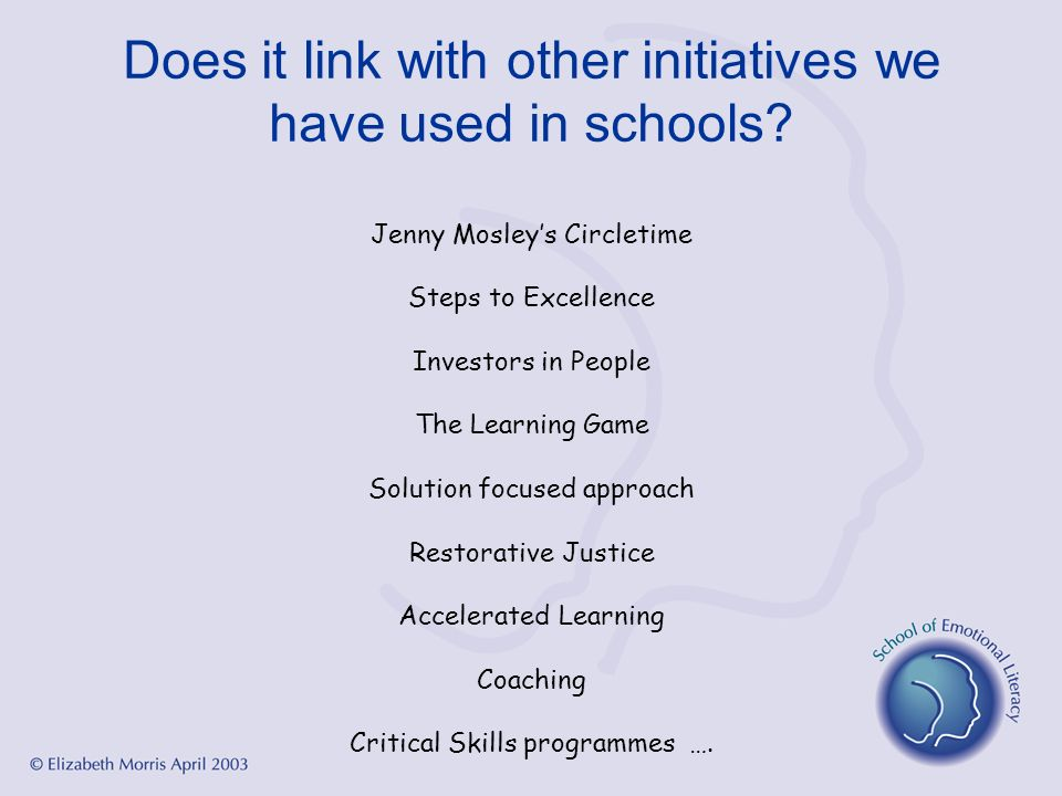 Does it link with other initiatives we have used in schools? Jenny Mosleys Circletime Steps to Excellence Investors in People The Learning Game Soluti
