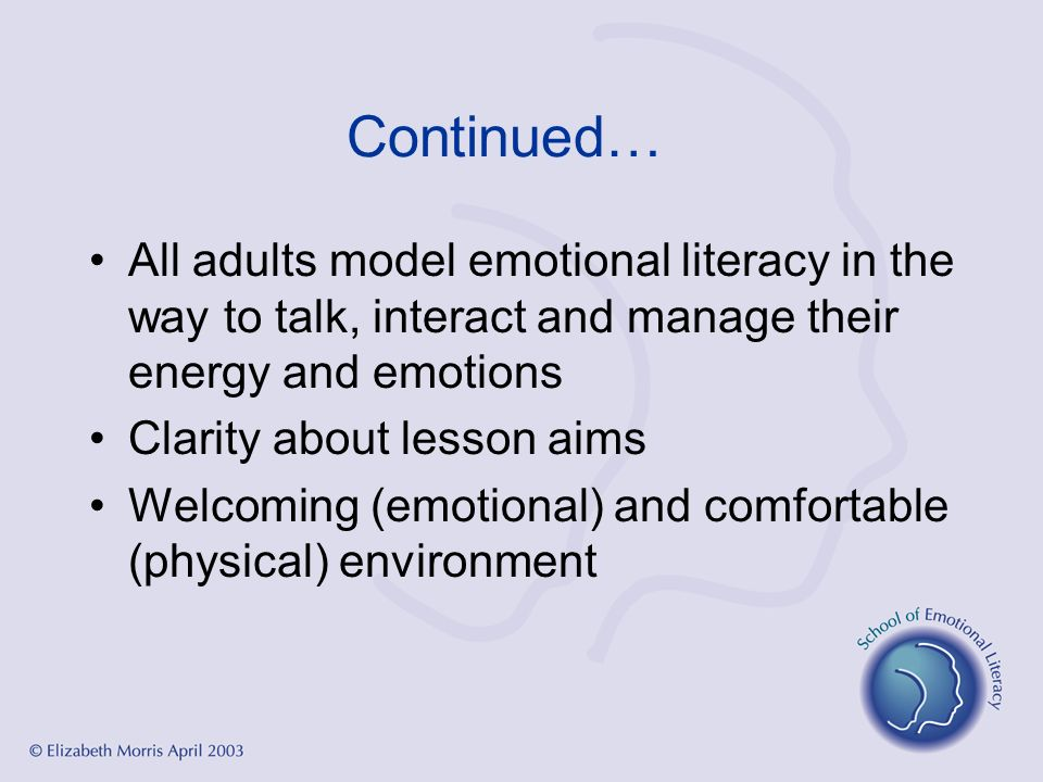 Continued… All adults model emotional literacy in the way to talk, interact and manage their energy and emotions Clarity about lesson aims Welcoming (