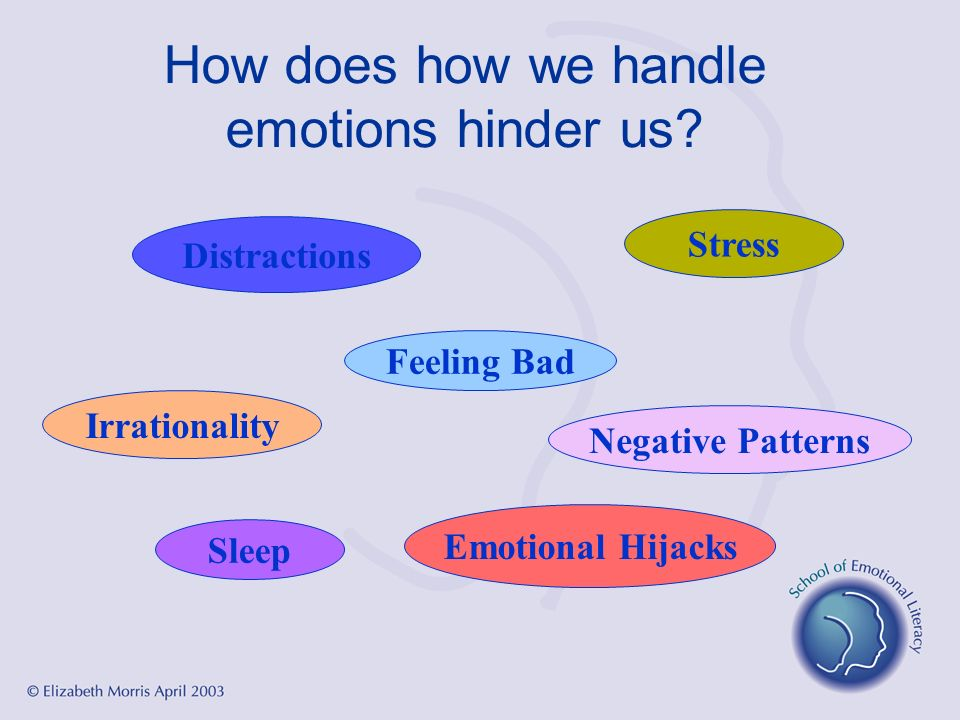 How does how we handle emotions hinder us? Irrationality Emotional Hijacks Sleep Distractions Stress Feeling Bad Negative Patterns