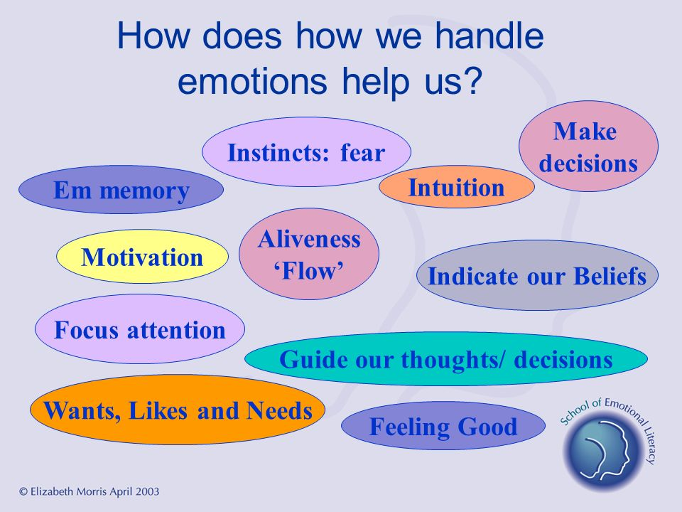 How does how we handle emotions help us? Guide our thoughts/ decisions Feeling Good Intuition Indicate our Beliefs Wants, Likes and Needs Motivation A