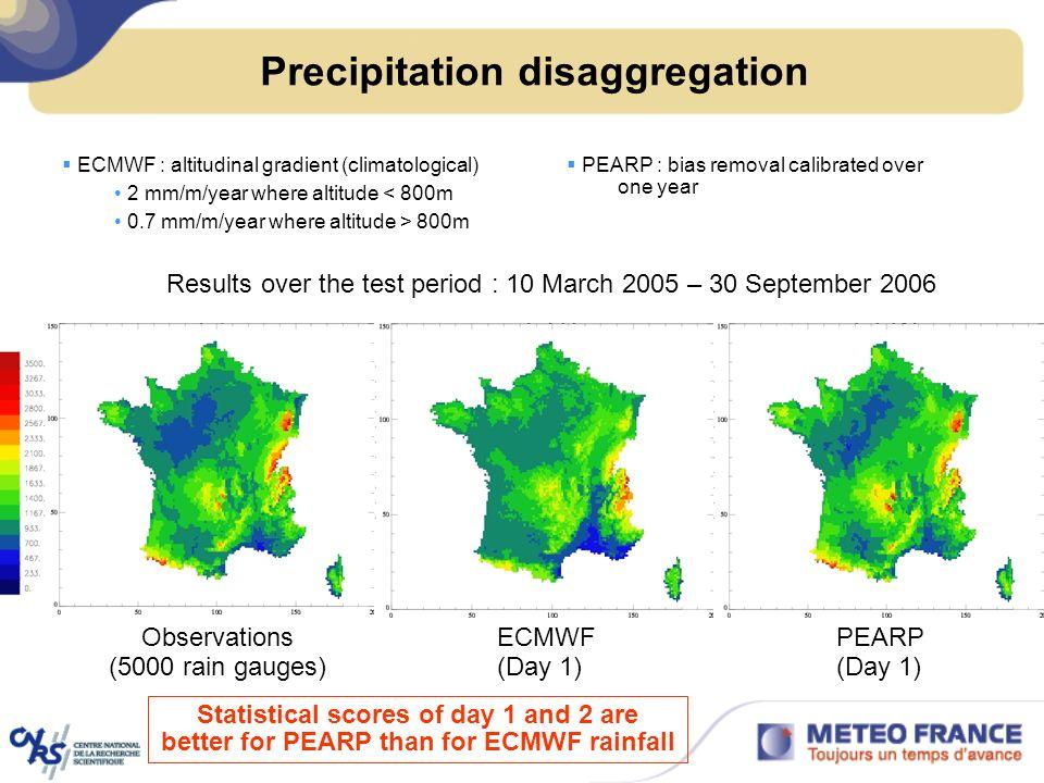 Precipitation disaggregation ECMWF : altitudinal gradient (climatological) 2 mm/m/year where altitude < 800m 0.7 mm/m/year where altitude > 800m PEARP