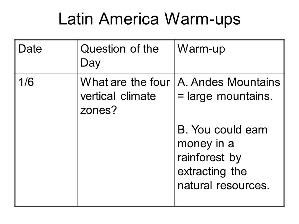 Latin America Warm-ups DateQuestion of the Day Warm-up 1/6What are the four vertical climate zones? A. Andes Mountains = large mountains. B. You could