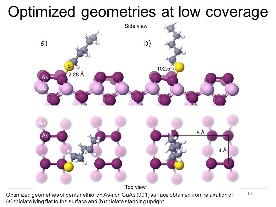 12 Optimized geometries at low coverage Optimized geometries of pentanethiol on As-rich GaAs (001) surface obtained from relaxation of (a) thiolate ly