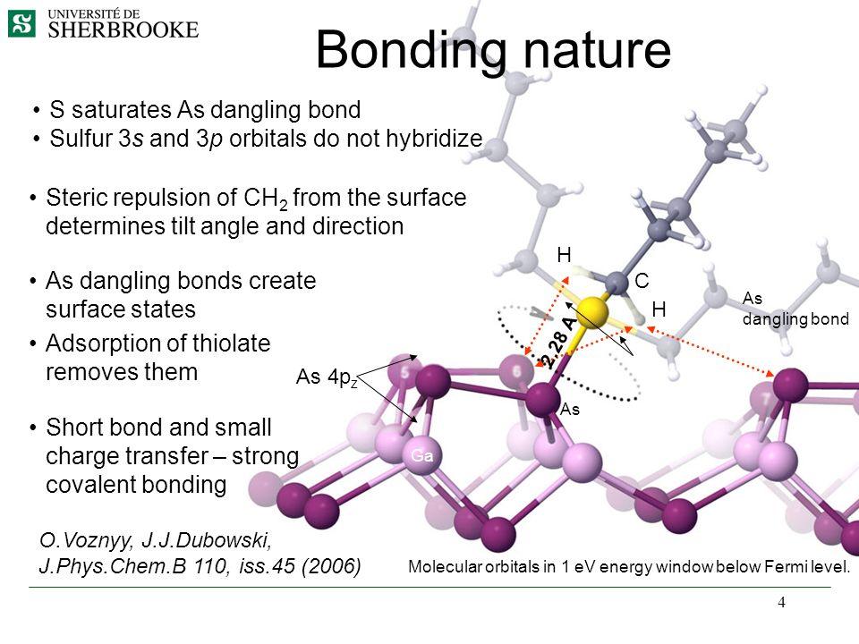 4 Bonding nature Molecular orbitals in 1 eV energy window below Fermi level. S saturates As dangling bond Sulfur 3s and 3p orbitals do not hybridize A