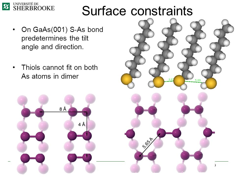 9 Surface constraints On GaAs(001) S-As bond predetermines the tilt angle and direction. Thiols cannot fit on both As atoms in dimer 5.65 A