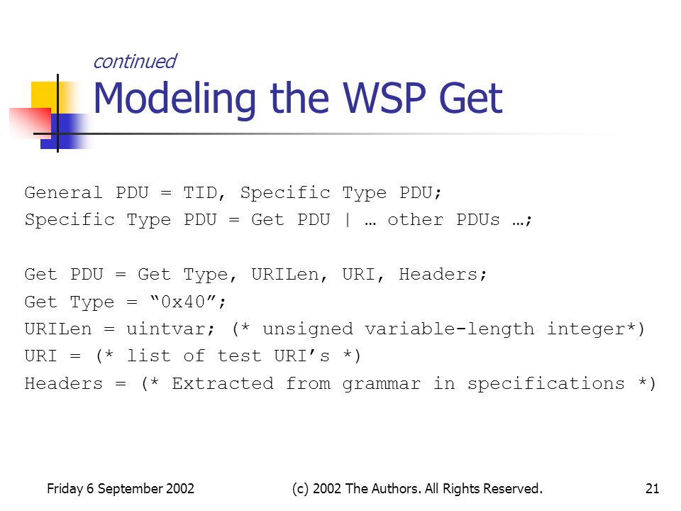 Friday 6 September 2002(c) 2002 The Authors. All Rights Reserved.21 continued Modeling the WSP Get General PDU = TID, Specific Type PDU; Specific Type