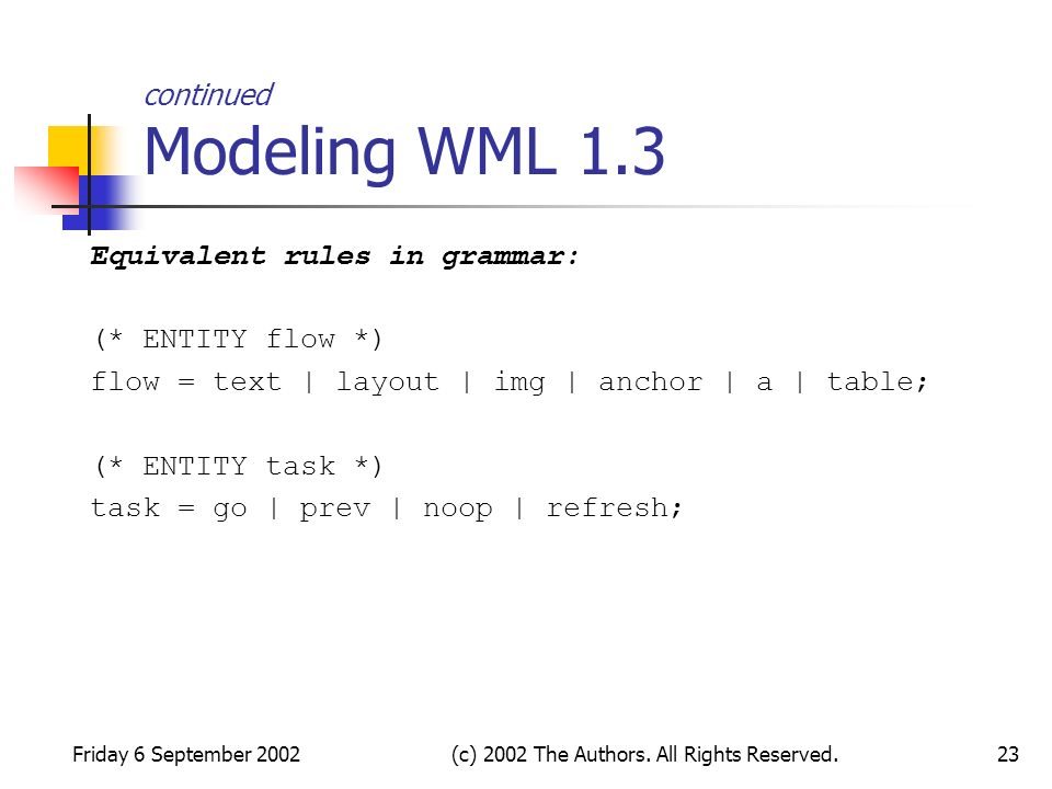 Friday 6 September 2002(c) 2002 The Authors. All Rights Reserved.23 continued Modeling WML 1.3 Equivalent rules in grammar: (* ENTITY flow *) flow = t