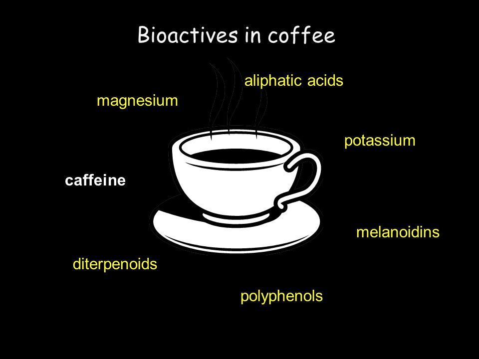 magnesium potassium polyphenols caffeine aliphatic acids diterpenoids melanoidins caffeine Bioactives in coffee