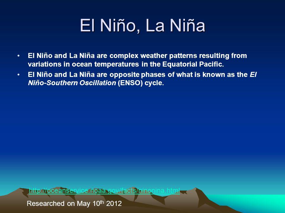 El Niño, La Niña El Niño and La Niña are complex weather patterns resulting from variations in ocean temperatures in the Equatorial Pacific. El Niño a