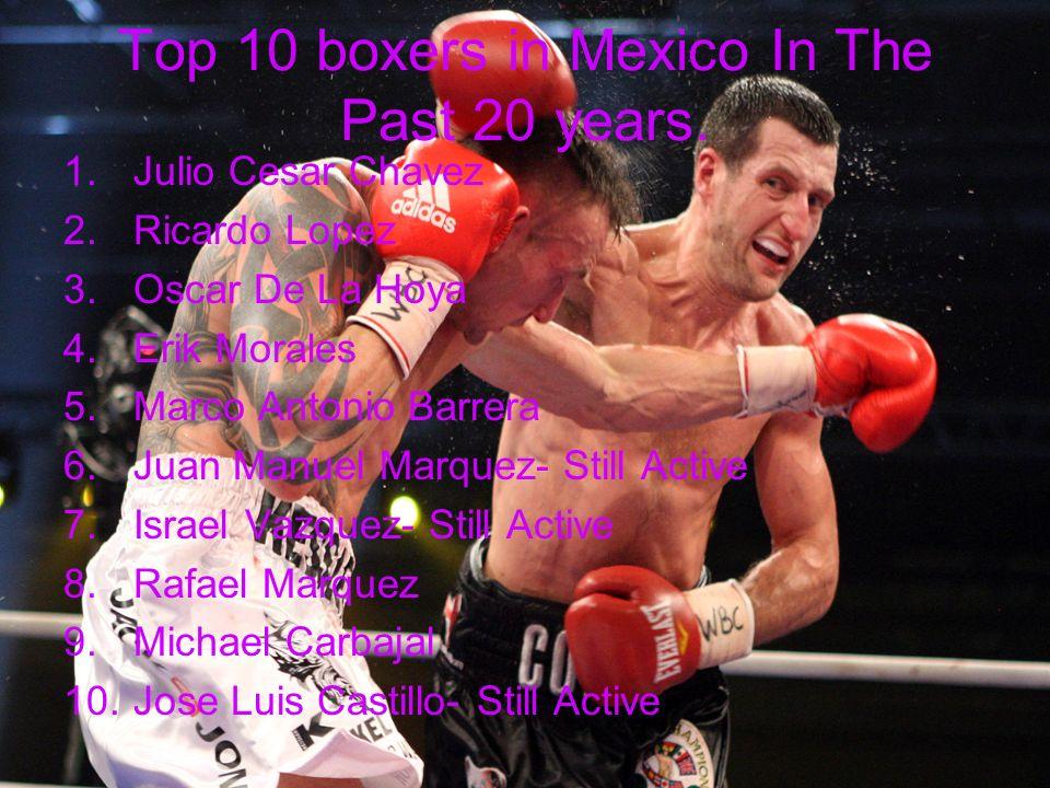 Top 10 boxers in Mexico In The Past 20 years. 1.Julio Cesar Chavez 2.Ricardo Lopez 3.Oscar De La Hoya 4.Erik Morales 5.Marco Antonio Barrera 6.Juan Ma
